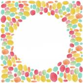 Watercolor dots round frame — Stock Vector