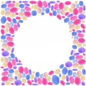 Watercolor pink dots round frame — Stock Vector