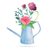 Watercolor garden watering can with flowers bouquet — Stock Vector