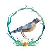 Hand painted bird inside floral wreath — Stock Vector