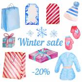 Watercolor Winter Sale objects isolated — Stock Vector