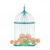Vintage flowers in cage — Stock Vector