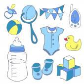 Newborn baby boy doodle set — Stock Vector