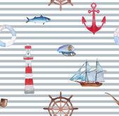 Sea navigation seamless pattern — Stock Vector