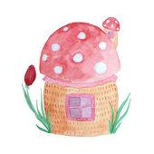 Fairytale mushroom house. — Stock Vector