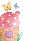 Fairytale mushroom house — Stock Vector