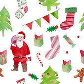 Pattern with Santa and gifts — Vettoriale Stock