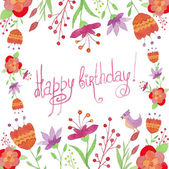 Happy birthday card with flowers and bird — Stock Vector