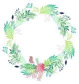 Watercolor floral wreath. — Stock Vector