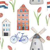 Watercolor Amsterdam pattern — Stock Vector