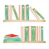 Watercolor bookshelves — Stock Vector