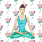 Watercolor Yoga girl — Stock Vector