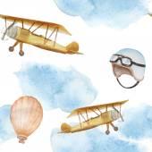 Watercolor retro airplane — Stok Vektör