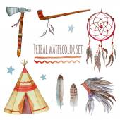 Watercolor tribal set. — Vector de stock