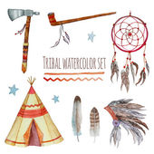 Watercolor tribal set. — Stock Vector