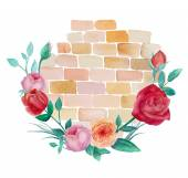 Brick wall and roses — Stockvektor