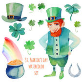 Watercolor Saint Patrick's Day set — Stock Vector