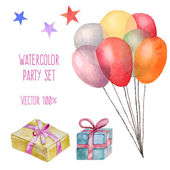 Watercolor party set — Stock Vector