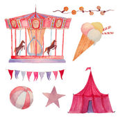 Watercolor Circus set — Stock Vector