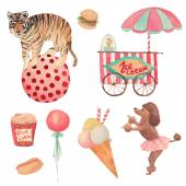 Watercolor Circus set — Wektor stockowy