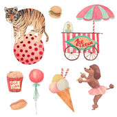 Watercolor Circus set — Stockvector