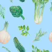 Watercolor Vegetarian food pattern — Stock Vector