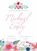 Watercolor floral wedding card — Vector de stock