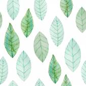 Watercolor green leaves pattern — Stok Vektör