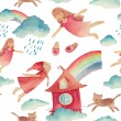 Watercolor pattern with flying girls — Vetor de Stock  #66311367
