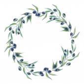 Watercolor black olive branch wreath — Stock Vector