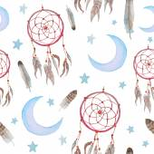 Watercolor Dreamcatcher background. — Stock Vector