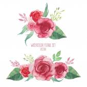 Watercolor set of flowers bouquets — Vetor de Stock