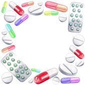 Tablets and pills, capsules frame — Stock Vector