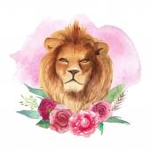Lion with floral wreath — Stock Vector