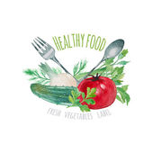 Watercolor vegetables label. — Stock Vector