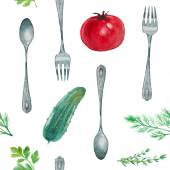 Watercolor Vegetarian pattern. — Stock Vector