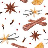 Cinnamon sticks, star anise, vanilla — Stock Vector