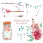 水彩ヴィンテージ結婚式スタイル セット — ストックベクタ