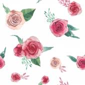 Watercolor roses pattern — Stock Vector