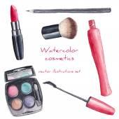 Watercolor cosmetics set — Stock Vector