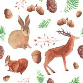 Watercolor forest wildlife pattern — Vecteur
