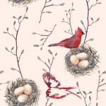 Постер, плакат: Pattern with nest birds and tree twigs