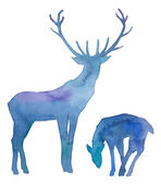 Watercolor splashes silhouettes of deers — Stok Vektör