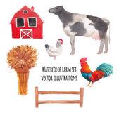 水彩の農場の動物 — ストックベクタ