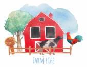 Watercolor farm pattern — Stock Vector