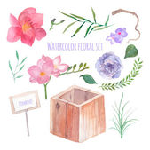 Watercolor floral box creator — Stock Vector