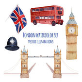 Watercolor London pattern — Stock Vector