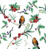 Watercolor berries and birds seamless pattern — Stock Vector