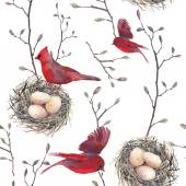 Pattern with nest, birds and tree twigs — Stock vektor
