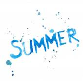 Watercolor Summer word with splashes — Stock Vector